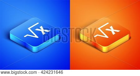 Isometric Square Root Of X Glyph Icon Isolated On Blue And Orange Background. Mathematical Expressio