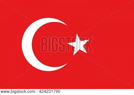 The National Flag Of The Country Of Turkey. National Flag Of Turkey. State Symbol. National Holiday