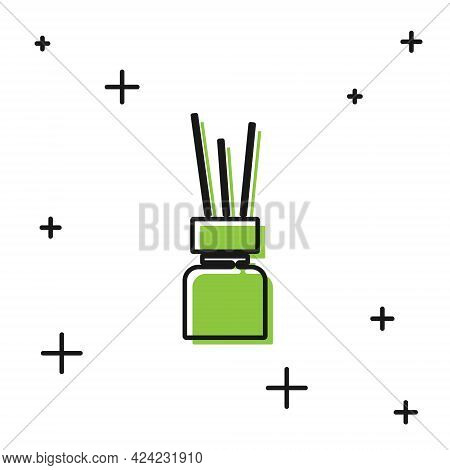 Black Aroma Diffuser Icon Isolated On White Background. Glass Jar Different With Wooden Aroma Sticks