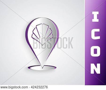 Paper Cut Scallop Sea Shell Icon Isolated On Grey Background. Seashell Sign. Paper Art Style. Vector