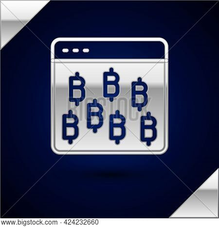 Silver Cryptocurrency Coin Bitcoin Icon Isolated On Dark Blue Background. Physical Bit Coin. Blockch