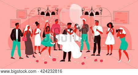 Wedding Composition With View Of Marriage Ceremony With Characters Of Guests With Happy Groom And Br