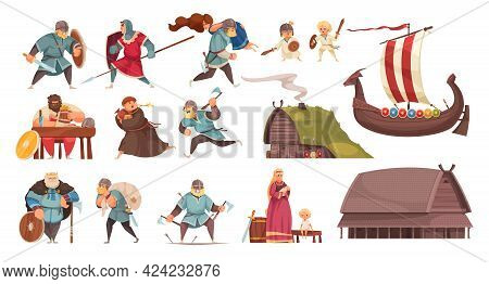 Vikings Culture Traditions Kids Wooden House Meal Longship Boat Weapon Armor Robbing Lifestyle Carto
