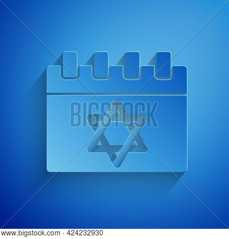 Paper Cut Jewish Calendar With Star Of David Icon Isolated On Blue Background. Hanukkah Calendar Day