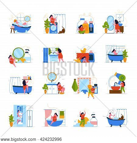 Bath Time 4x4 Flat Icons Set Of People Relaxing In Bath With Foam Bubbles Isolated Vector Illustrati