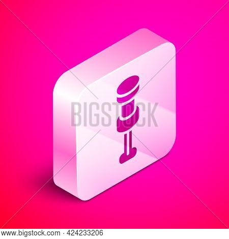 Isometric Push Pin Icon Isolated On Pink Background. Thumbtacks Sign. Silver Square Button. Vector