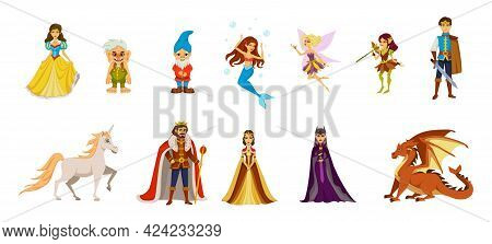 Fairy Tale Characters Cartoon Icon Set With Dwarves Trolls Princesses Fairies Princes And Other Fair
