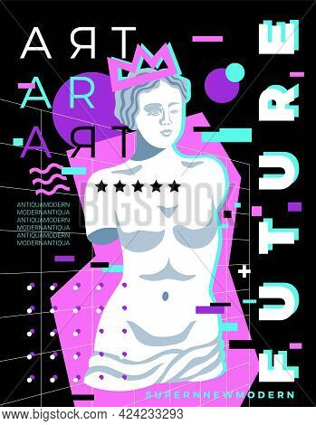 Antique Statues Poster With Pop Art Style Image Of Venus Sculpture Editable Text And Geometric Figur
