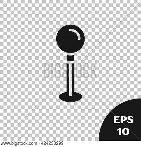 Black Push Pin Icon Isolated On Transparent Background. Thumbtacks Sign. Vector