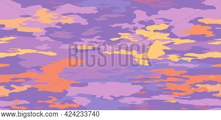 Clouds Scenic Backdrop Orange Purple Gentle Morning Sunrise. Cartoon Sky And Clouds, Abstract Vector