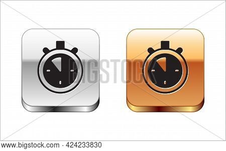 Black Stopwatch Icon Isolated On White Background. Time Timer Sign. Chronometer Sign. Silver-gold Sq