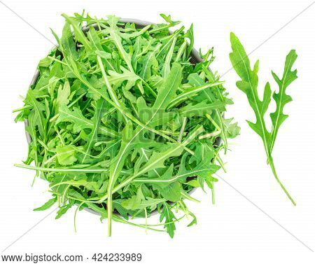 Rucola Leaves In A Bowl Isolated On White Background. Green Fresh  Rocket Salad Or Arugula Leaf, Top