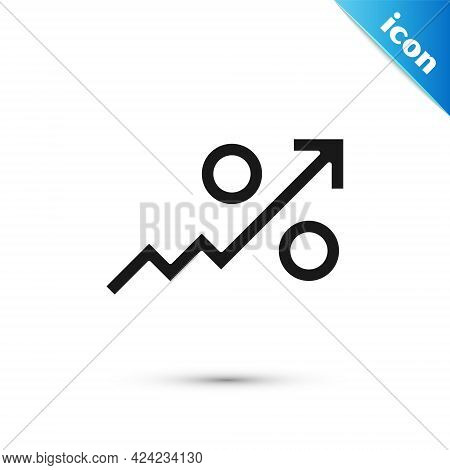 Grey Percent Up Arrow Icon Isolated On White Background. Increasing Percentage Sign. Vector