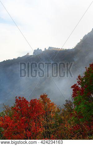 Yalta Ai-petri October 03, 2020. Golden Autumn In The Crimea. Fantastic Autumn Landscape. Autumn For