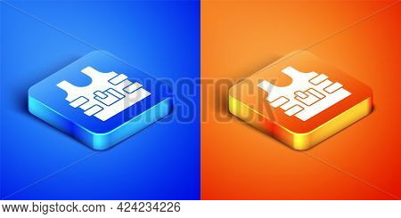 Isometric Bulletproof Vest For Protection From Bullets Icon Isolated On Blue And Orange Background.
