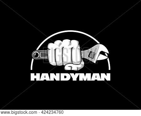 Hand With Spanner. Handyman Logo Template. Stock Vector Illustration.