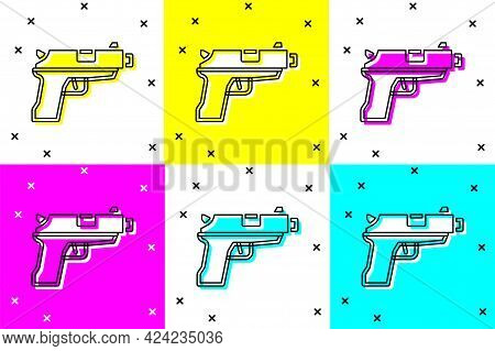 Set Pistol Or Gun Icon Isolated On Color Background. Police Or Military Handgun. Small Firearm. Vect