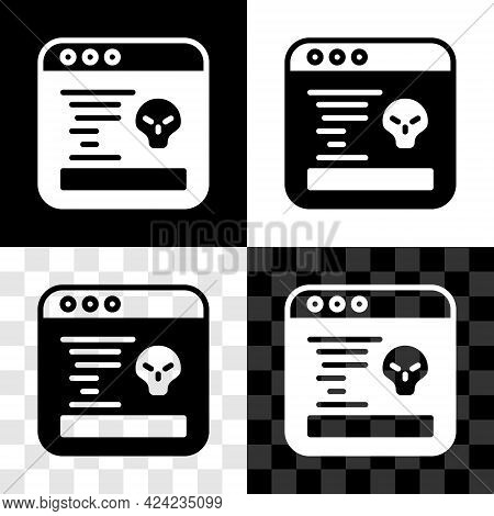 Set System Bug Concept Icon Isolated On Black And White, Transparent Background. Code Bug Concept. B