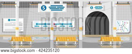 Empty Subway Station Interior. Train And Underground Platform. Railway Metro Station. Passenger Expr