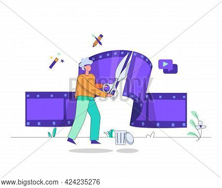 Video Editing Illustration, Edit Your Video Vector Concept