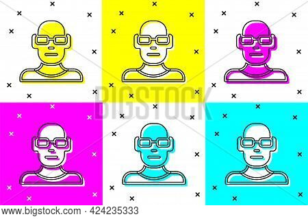 Set Poor Eyesight And Corrected Vision With Optical Glasses Icon Isolated On Color Background. Vecto
