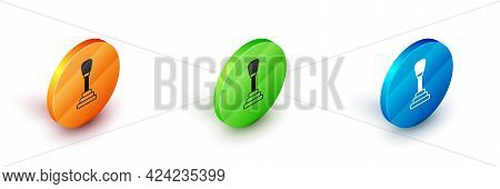 Isometric Gear Shifter Icon Isolated On White Background. Manual Transmission Icon. Circle Button. V