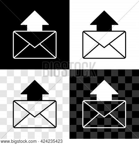Set Mail And E-mail Icon Isolated On Black And White, Transparent Background. Envelope Symbol E-mail