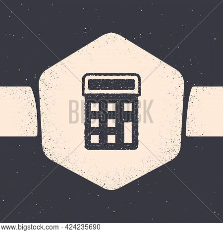 Grunge Calculator Icon Isolated On Grey Background. Accounting Symbol. Business Calculations Mathema