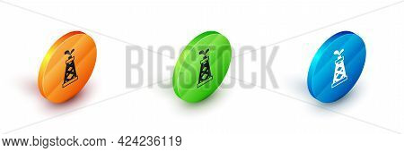 Isometric Oil Rig Icon Isolated On White Background. Gas Tower. Industrial Object. Circle Button. Ve
