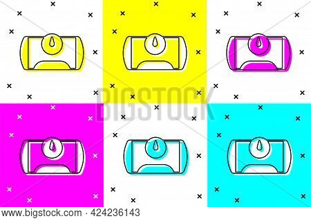 Set Gas Tank For Vehicle Icon Isolated On Color Background. Gas Tanks Are Installed In A Car. Vector
