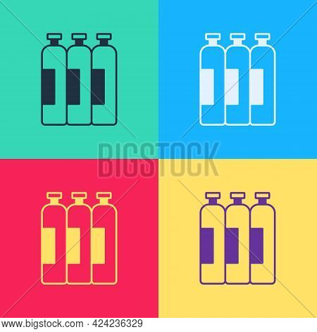 Pop Art Industrial Gas Cylinder Tank For All Inert And Mixed Inert Gases Icon Isolated On Color Back