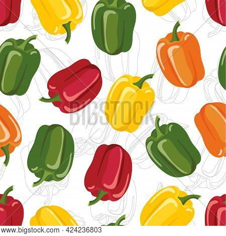 Seamless Pattern With Bell Pepper. Different Colors Pepper. Fresh Farm Vegetables. Color Layer And L
