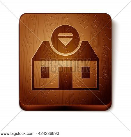 Brown Front Facade Building Jewelry Store Icon Isolated On White Background. Wooden Square Button. V