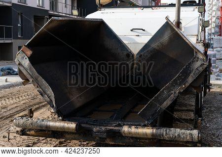 Industrial Pavement Machine Laying Fresh Asphalt On Street