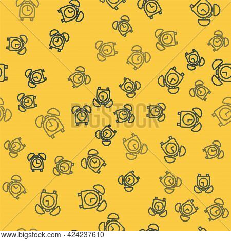 Blue Line Alarm Clock Icon Isolated Seamless Pattern On Yellow Background. Wake Up, Get Up Concept.