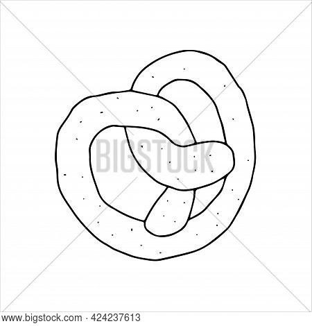 A Black Hand-drawn Vector Illustration Of A Pretzel Isolated On A White Background