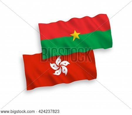 National Fabric Wave Flags Of Burkina Faso And Hong Kong Isolated On White Background. 1 To 2 Propor