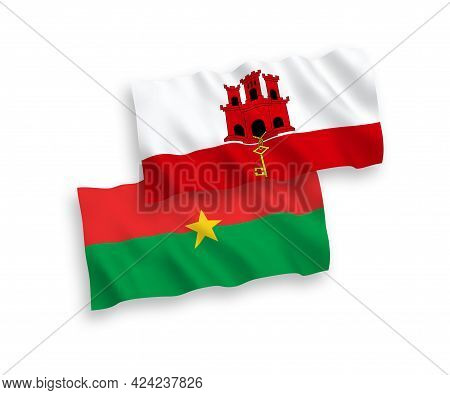 National Fabric Wave Flags Of Burkina Faso And Gibraltar Isolated On White Background. 1 To 2 Propor
