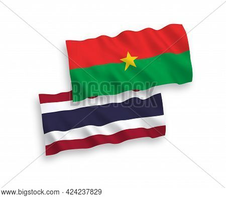 National Fabric Wave Flags Of Burkina Faso And Thailand Isolated On White Background. 1 To 2 Proport