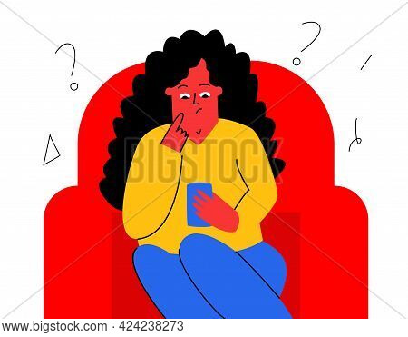 The Girl Is Sitting With The Phone In Her Hand. The Girl Looks Thoughtfully At The Phone. Vector Cha
