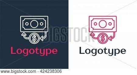 Logotype Line Stacks Paper Money Cash Icon Isolated On White Background. Money Banknotes Stacks. Bil