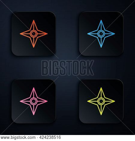 Color Neon Line Japanese Ninja Shuriken Icon Isolated On Black Background. Set Icons In Square Butto