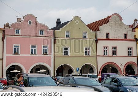 Main Husovo Square On Sunny Summer Day, Renaissance And Baroque Historical Buildings, Arcade, Colorf
