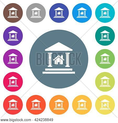 Real Estate Loan Flat White Icons On Round Color Backgrounds. 17 Background Color Variations Are Inc