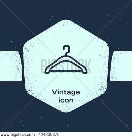 Grunge Line Hanger Wardrobe Icon Isolated On Blue Background. Cloakroom Icon. Clothes Service Symbol