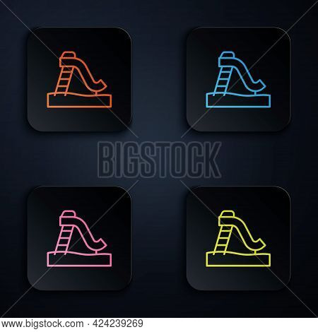 Color Neon Line Kid Slide Icon Isolated On Black Background. Childrens Slide. Set Icons In Square Bu