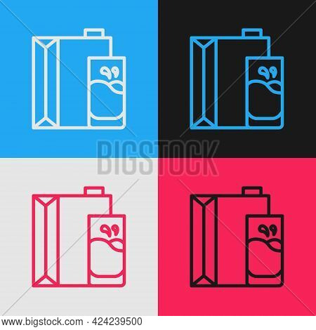 Pop Art Line Paper Package For Milk And Glass Icon Isolated On Color Background. Milk Packet Sign. V