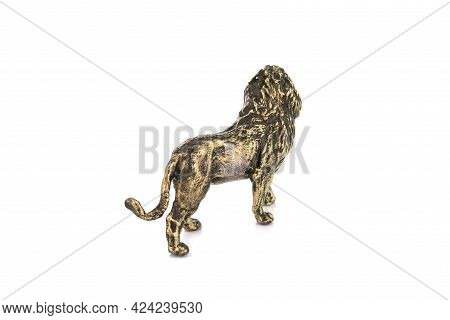 Lion Vintage Antique Grunge Bronze Brass Figurine Statue Of Beautiful Animal, Isolated On White Back