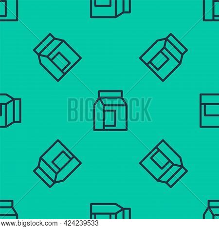 Blue Line Paper Package For Milk Icon Isolated Seamless Pattern On Green Background. Milk Packet Sig