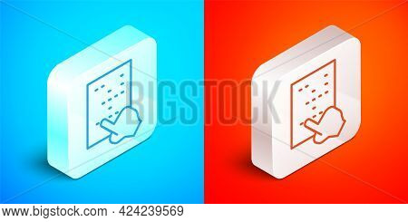 Isometric Line Braille Icon Isolated On Blue And Red Background. Finger Drives On Points. Writing Si